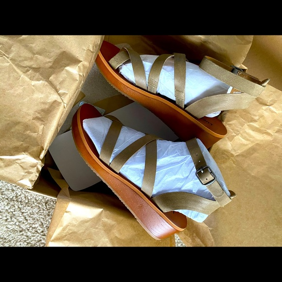 Taupe Lucky Brand Strappy Ankle Sandals